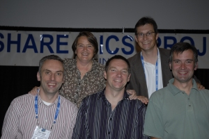 Going anti-clockwise from the bottom left is Matthew Webster (CICS Explorer), Paul Kettley (CICS strategy and planning), CICS Distinguished Engineer Ian Mitchell, CICS director Dave Andrews and Kathy Tyrrell (CICS project office)